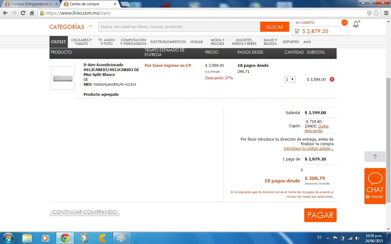 Linio: AIRE ACONDICIONADO GE MINI SPLIT a $2,878