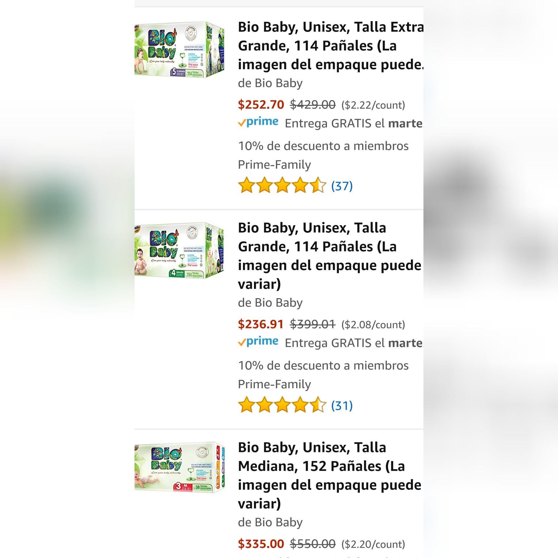 Hot Sale 2018 en Amazon: Pañales Bio Baby etapa 5,4,3 descuento
