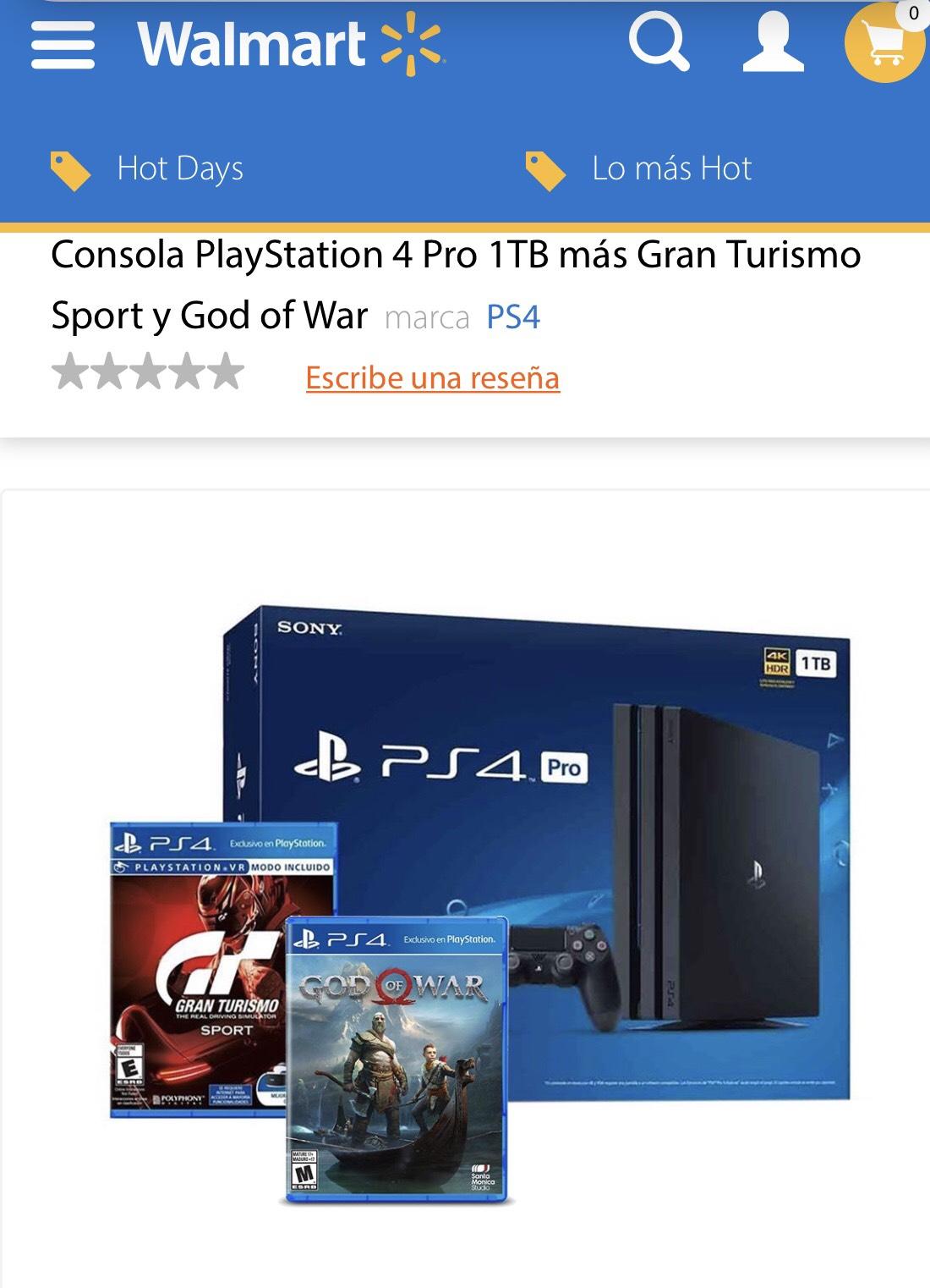 Hot Sale en Walmart: Consola PlayStation 4 Pro 1TB más Gran Turismo Sport y God of War con Bancomer o Banamex a 18 MSI