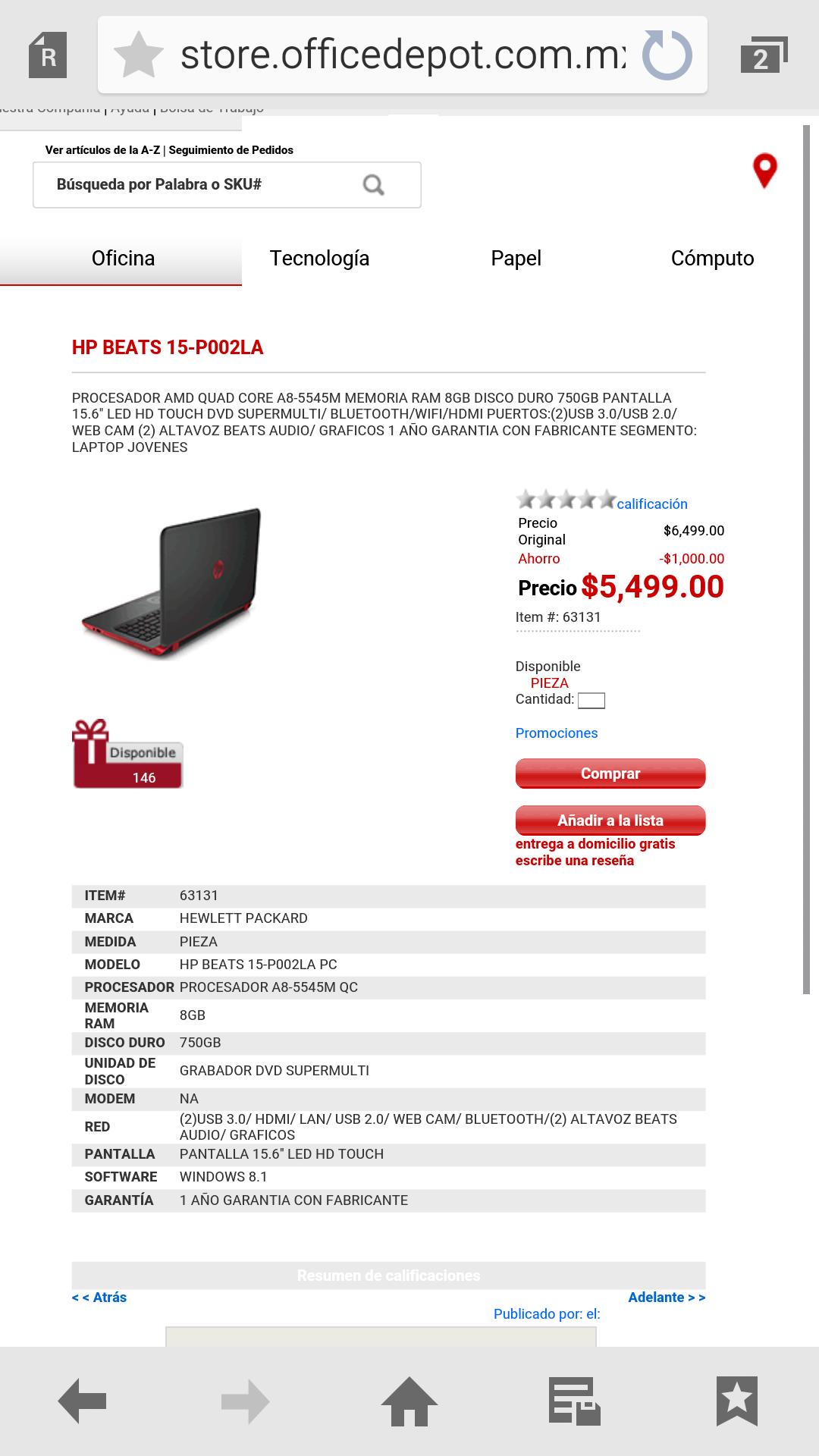 Office Depot: HP BEATS 15-P002LA con $1000 de descuento