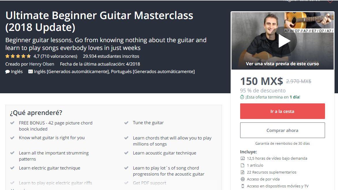 Udemy: Cursos gratis para aprender a tocar guitarra y otros cursos GRATIS con cupón