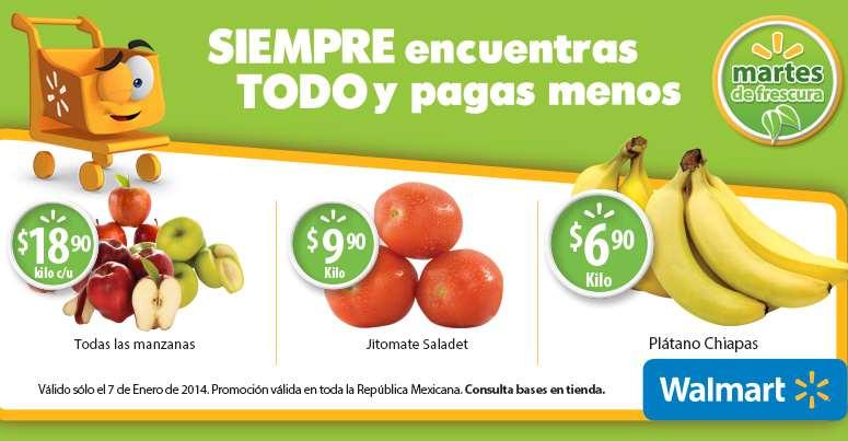 Martes de frescura Walmart enero 7: plátano $6.90 el kilo y más