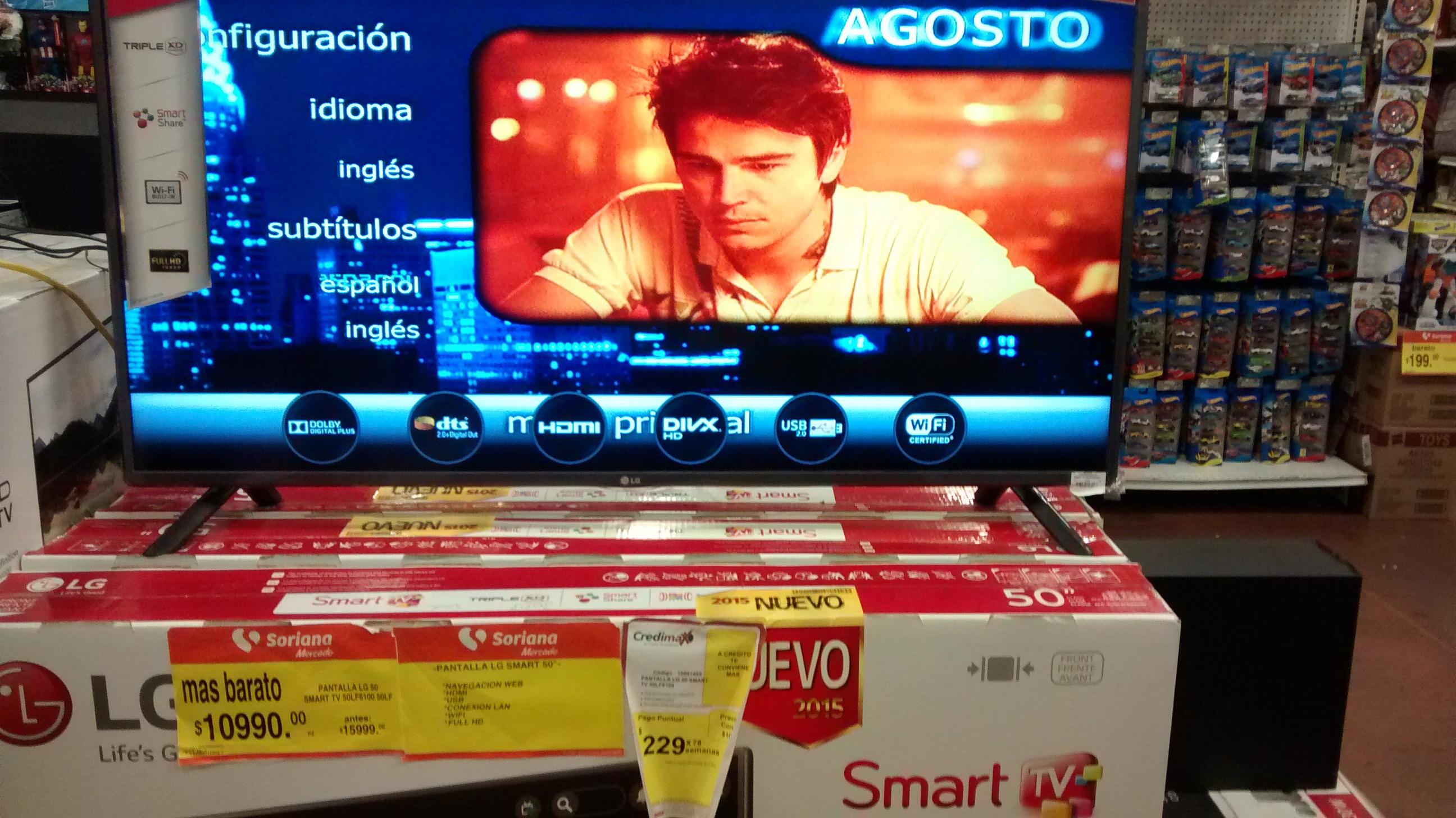 Soriana: Pantalla LG smart tv de 50 pulgadas a $10,999