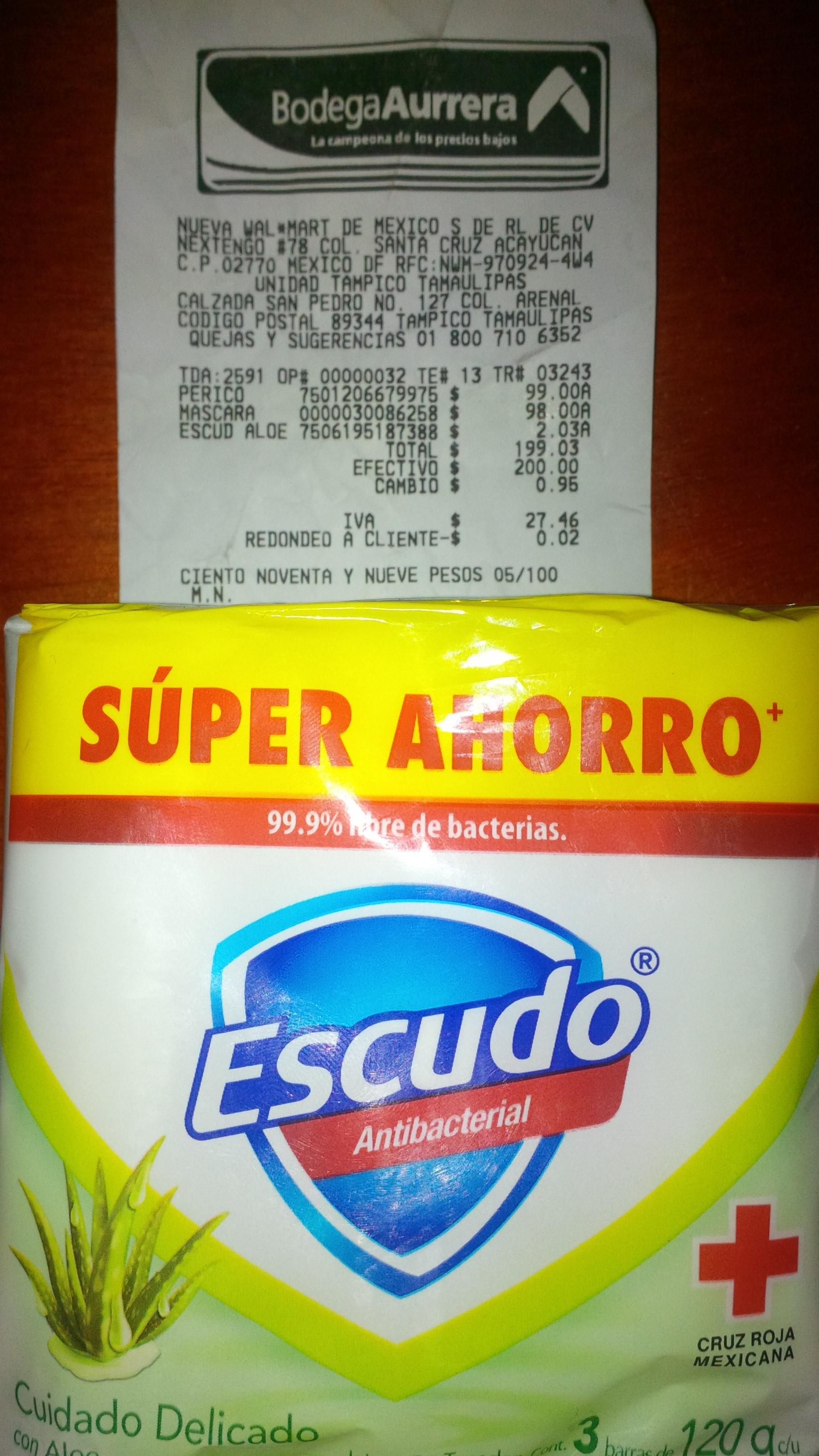 Bodega Aurrera: Paquete Escudo 3 Piezas $2.03