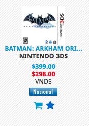 MixUp: Batman: Arkham Origins Blackgate en $298 Nintendo 3DS