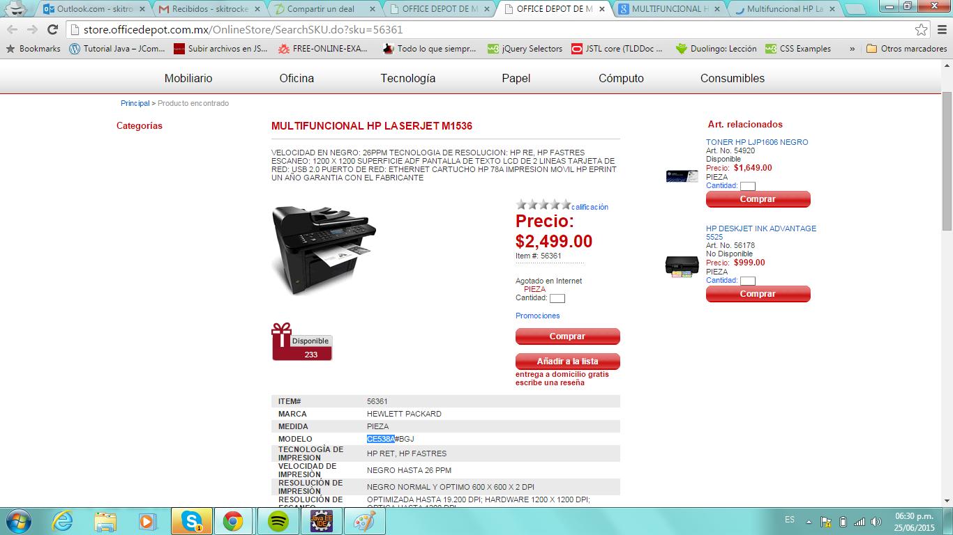 Office Depot: Multifuncional HP LaserJet M1536dnf (CE538A) $2,499