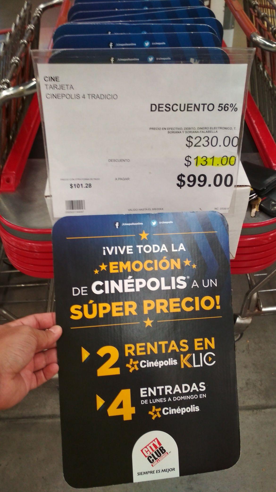 City Club: Cinépolis 4 entradas lunes a domingo + 2 rentas Cinépolis Klic $99
