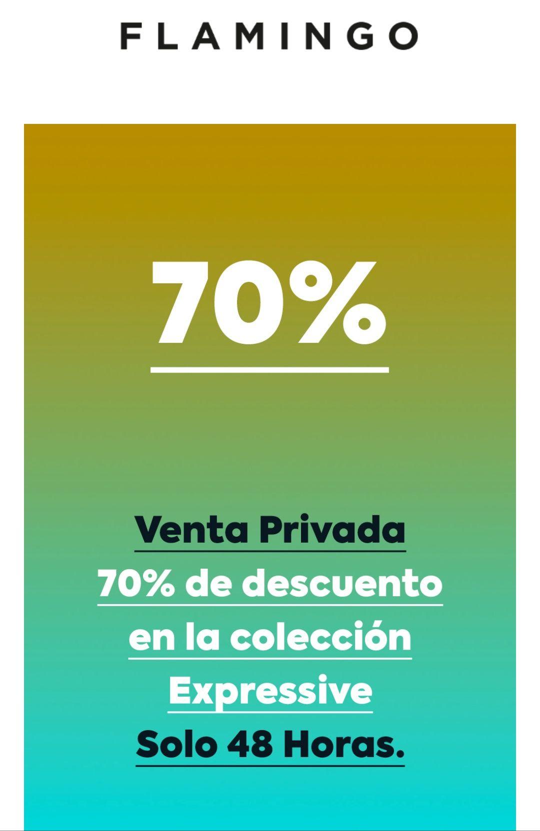 Flamingo: código del 70%  en toda la tienda