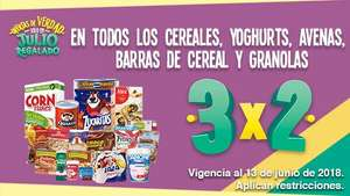 Julio Regalado 2018 en Soriana: 3 x 2 en cereales, yoghurts, avenas, barras de cereal y granolas