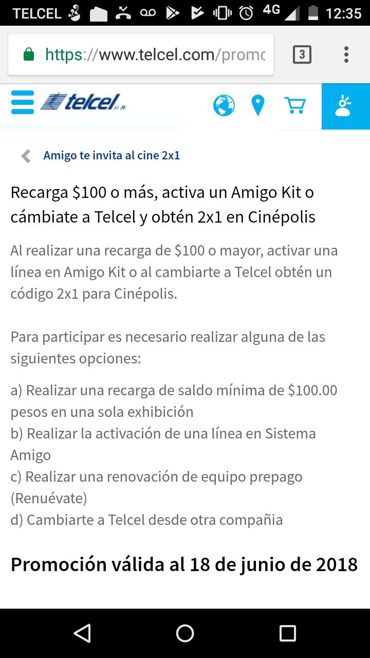 Cinépolis: Cupon 2x1 al recargar 100 o mas en Telcel