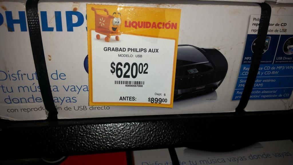 Walmart: Grabadora Philips $620.02 Modelo AZ1837 (CD, MP3, USB, AUX, FM)