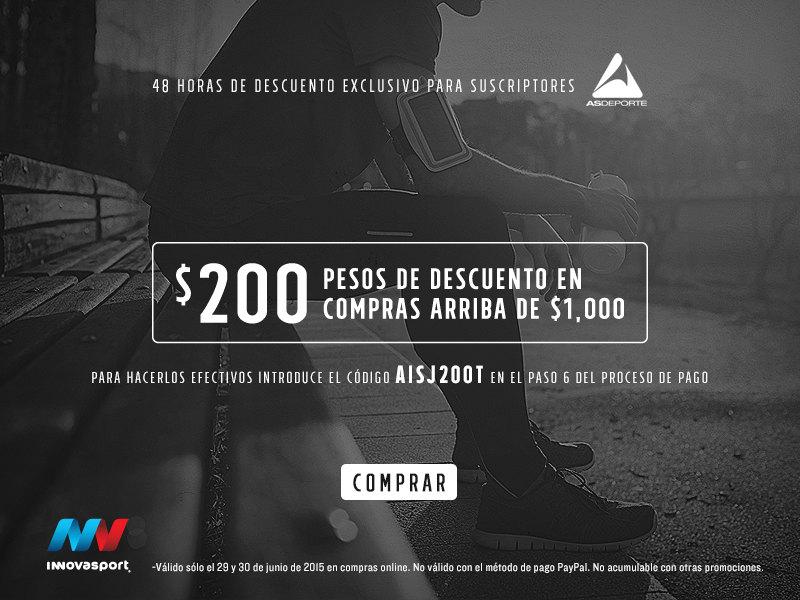 Innovasport: cupón de $200 pesos de descuento en compras a partir de $1,000