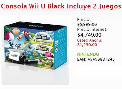 WiiU con New Super Mario Bros U y Luigi U $4,789 o con Zelda Wind Waker $4,999