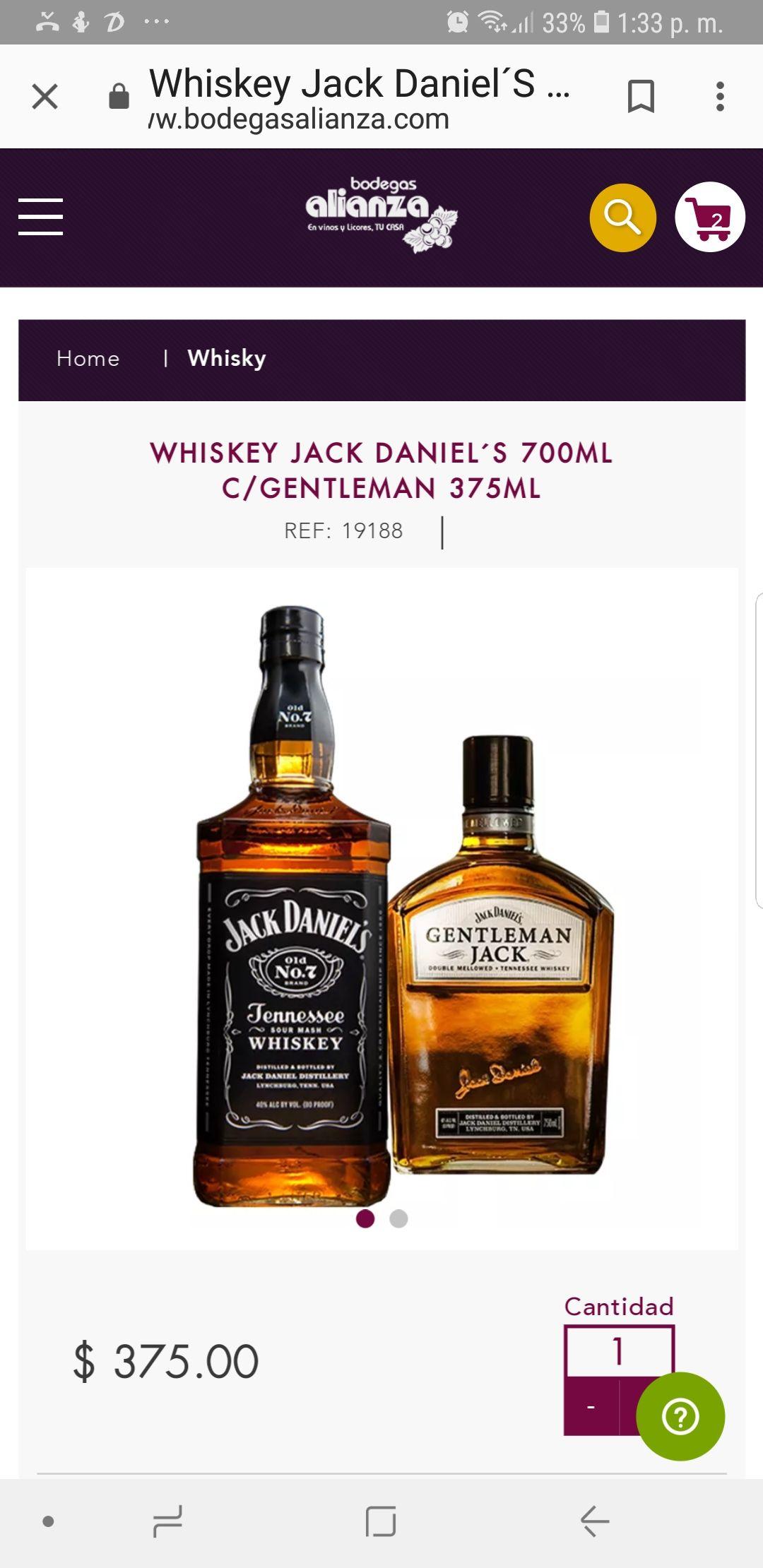 Bodegas Alianza: WHISKEY JACK DANIEL´S 700ML C/GENTLEMAN 375ML