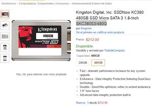 Amazon: SSD Kingston de 480 gb a $212