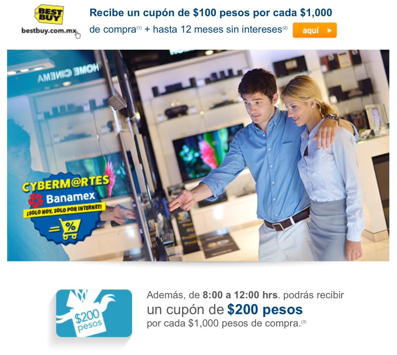 Best Buy: CyberMartes Banamex $200 x cada $1000 en vales