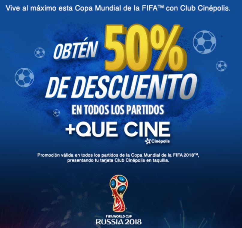 Cinépolis: Obtén 50% de descuento en todos los partidos del mundial presentando la tarjeta club cinépolis en taquilla