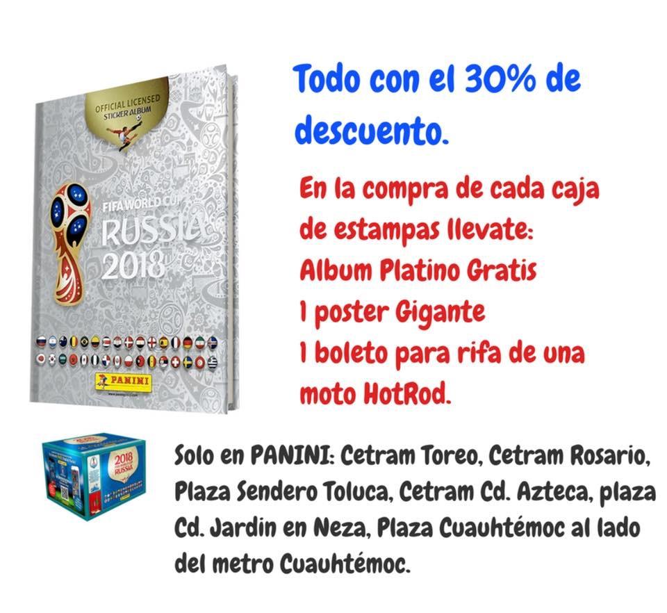 Panini Plaza Cuauhtémoc: Caja  Mundial 100 sobres + Álbum platino pasta dura + Poster + Boleto rifa de moto