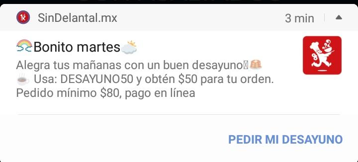 SinDelantal: cupón $50 pedidos de $80