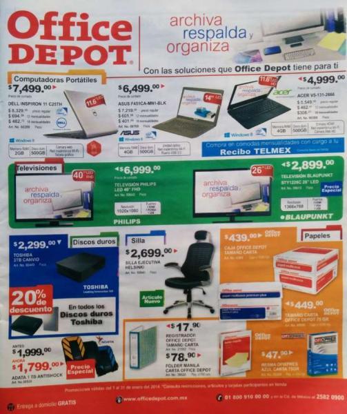 Folleto de ofertas en Office Depot de enero 2014