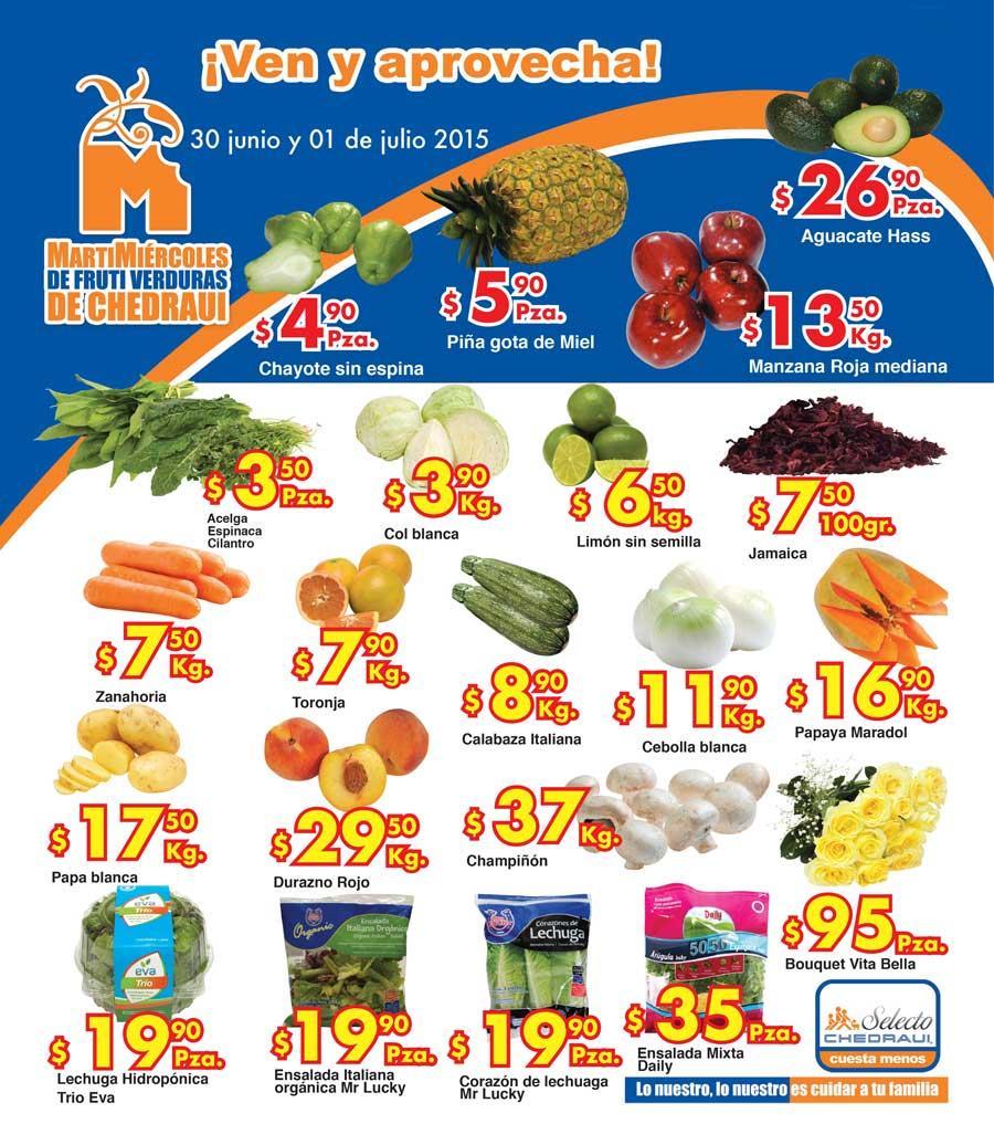 Ofertas de frutas y verduras en Chedraui 30 de junio y 1 de julio