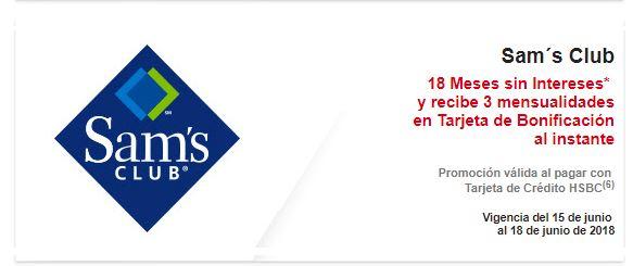 Sam's Club: 18 MSI y 3 mensualidades en Tarjeta de Bonificación al instante con tarjetas HSBC y Bancomer en compras mínimas de $3,500