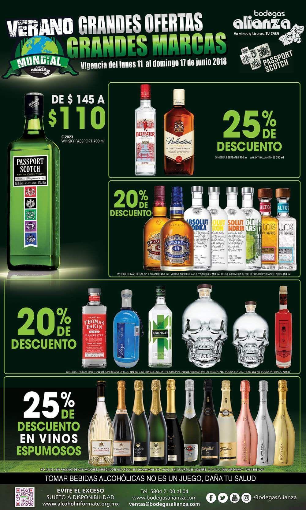 Bodegas Alianza: promo en whisky, vodka y mucho más, por ejemplo Passport Scotch a $110
