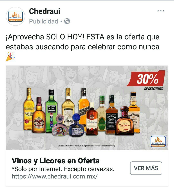 Chedraui online: 30% de Descuento en vinos y licores (excepto cervezas) *solo por internet