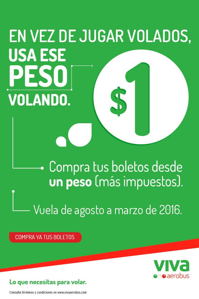 Vivaaerobus: Vuela desde $1 + impuestos de agosto a Marzo 2016