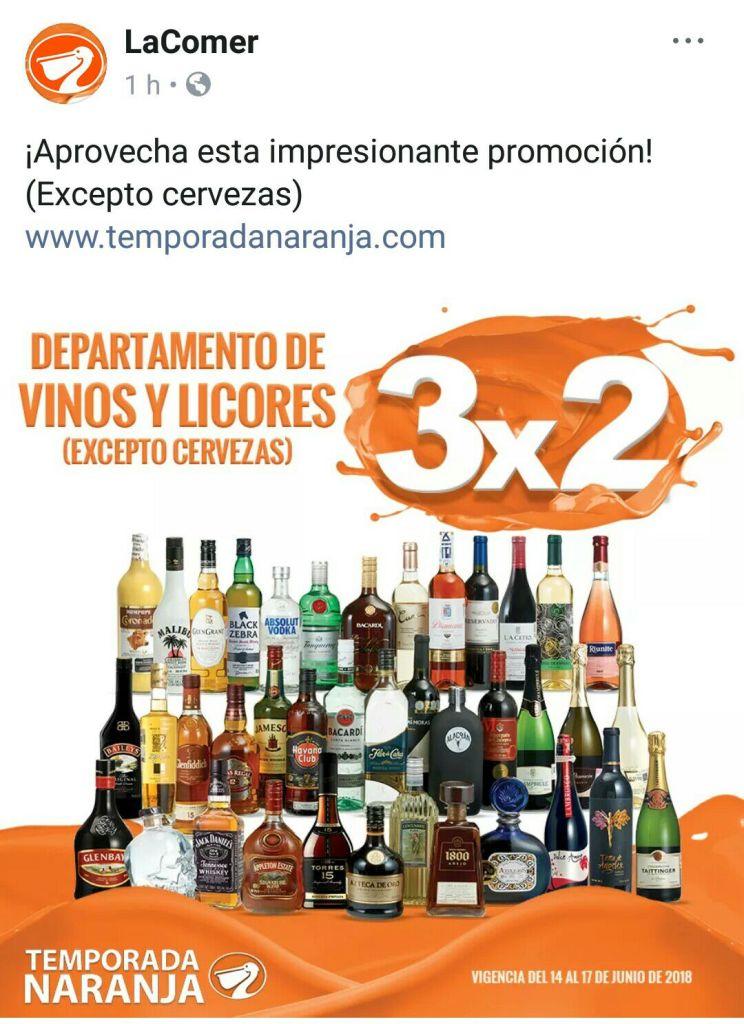 Temporada Naranja 2018 en La Comer: 3x2 en Vinos y Licores del 14 al 17 de Junio