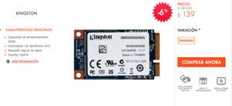 Linio: SSD 60GB Kingston $139