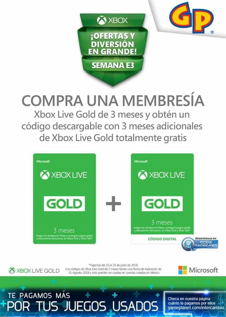 Game Planet: Membresia Xbox live 3 meses gratis al comprar otra