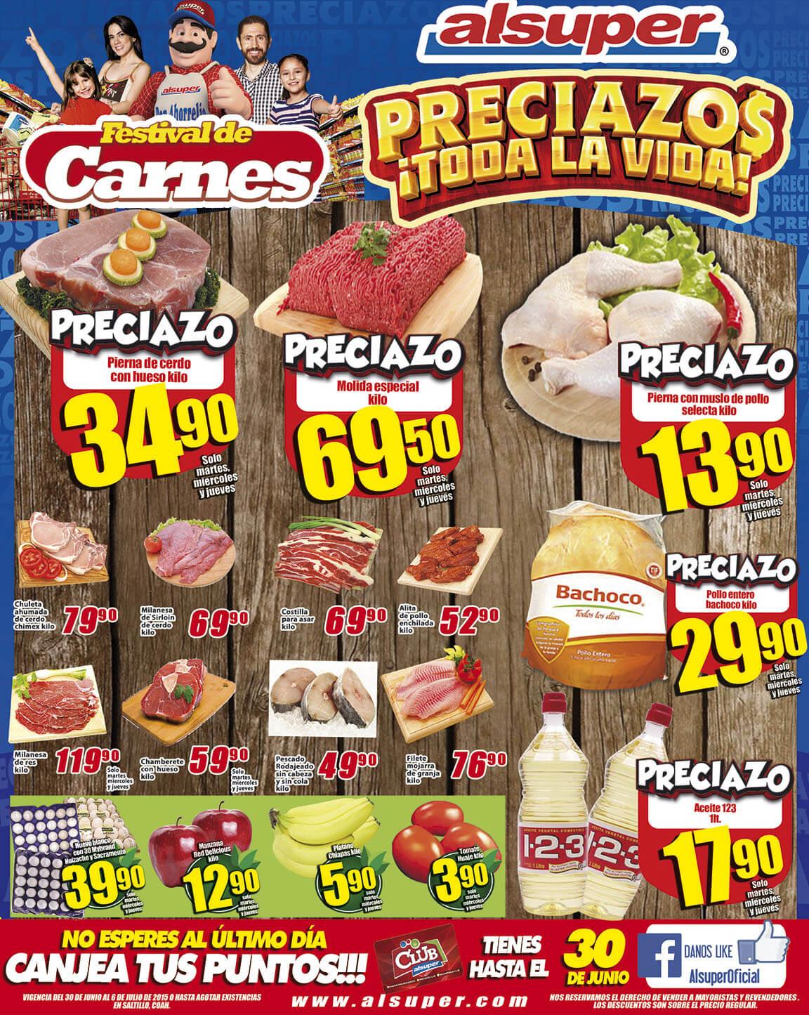 Alsuper: Festival de las carnes [Molida especial $69 kg, Agua Nestle 4Lts $8.90 y mas...]