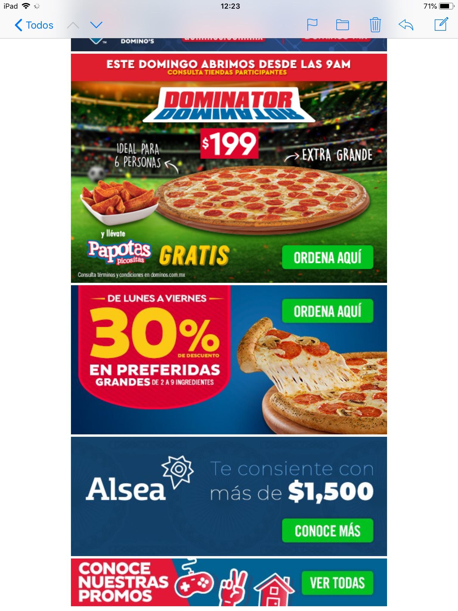 Domino's Pizza: 30% preferidas lunes a viernes Dominator D4 y papotas 199