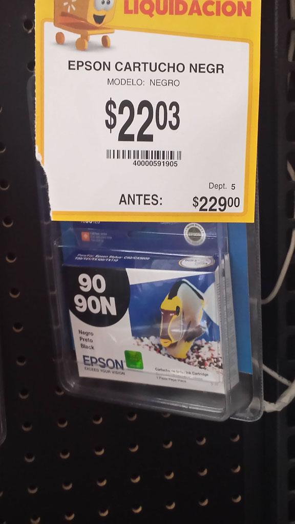 Walmart: Cartucho Epson de tinta negra a $22.03