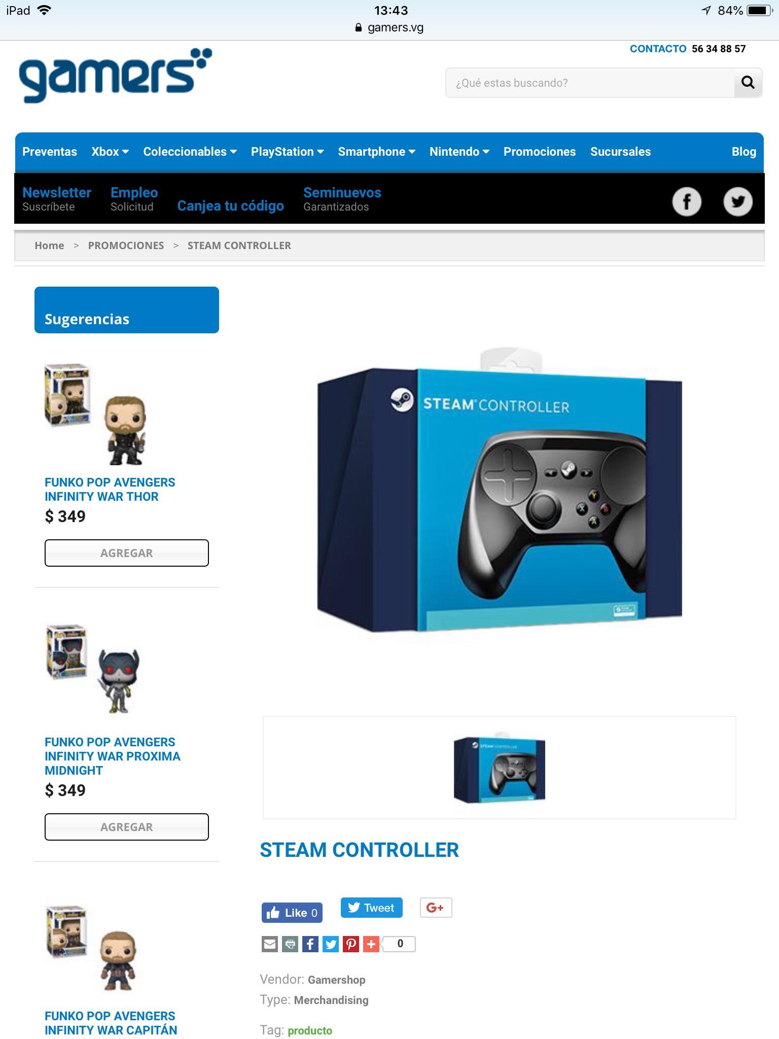 Gamers: Steam Controller (más envío)