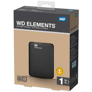 Amazon: Disco Duro externo Western Digital 1TB Elements USB 3.0 - USB 3.0, 2.5, HDD, Wired, 480, 5000, Black) con envio gratis