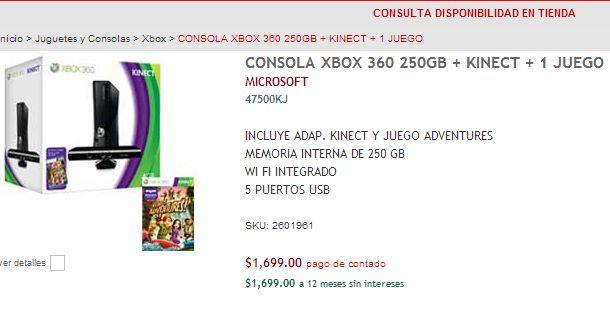 RadioShack:  Xbox 360 con Kinect $1,699, PS Vita $2,499 y Nintendo 3DS $1,699
