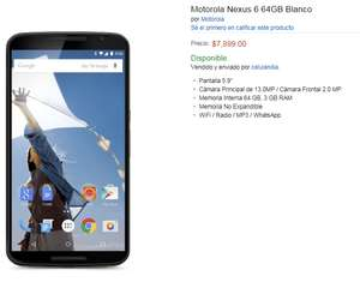 Amazon: Nexus 6 de 64 GB en $7,899