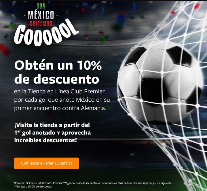 Club Premier: 10% de descuento por cada gol de México contra Alemania