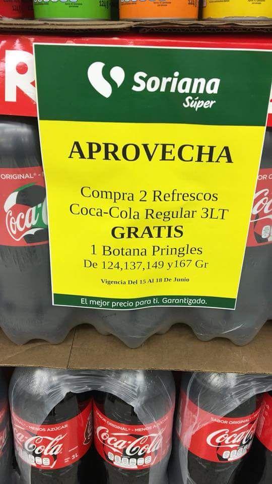 Soriana: Promo botanera Pringles gratis al comprar 2 Coca Cola de 3L