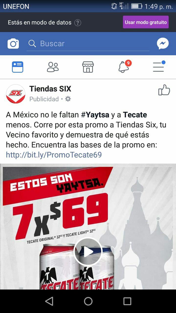 Tiendas Tecate six: 7 latas X 69 pesitos