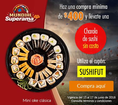 Superama: charola de sushi mini oke clásica gratis comprando $400 en el departamento de carnes, pescados y mariscos