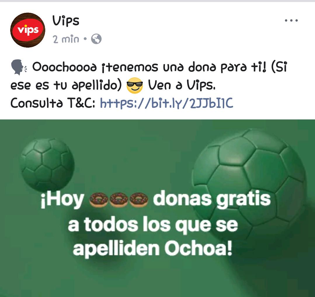 Vips: Dona Gratis a los que se apelliden Ochoa