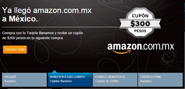 Amazon: Cupon de $300 en segunda compra con banamex