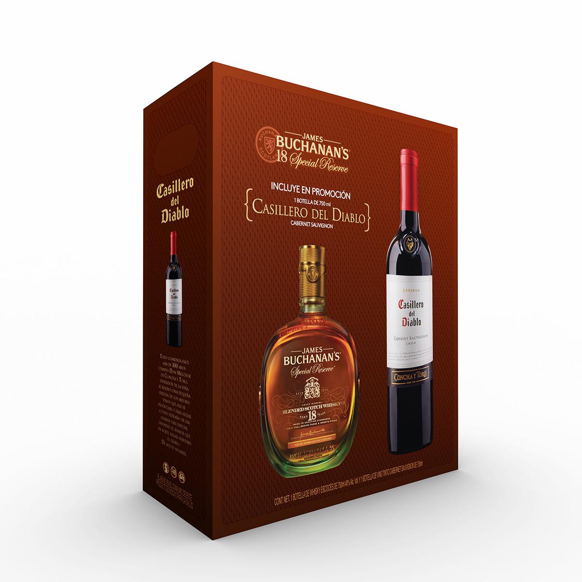 """Costco: 2 Buchanan's Special Reserve 18 años whisky 750ml + 1 Glenfiddich 12 años whisky 750ml+ 2 botellas de vino tinto """"el casillero del diablo"""" de 750ml pagando  con PAYPAL"""