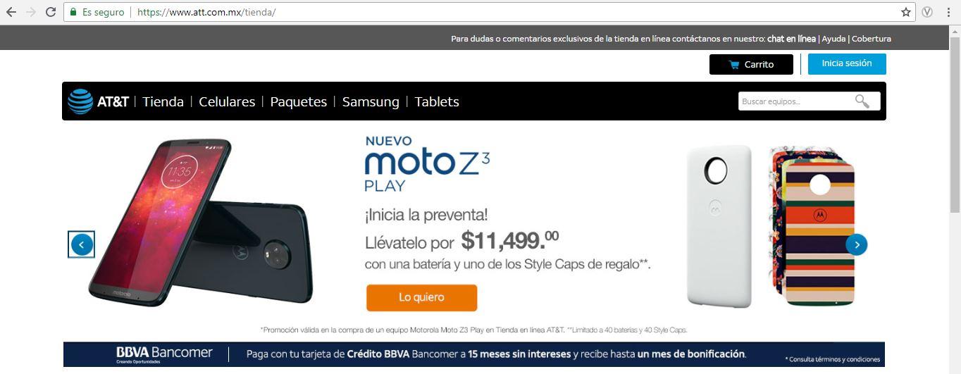 AT&T: Preventa Motorola Z3 15 Meses sin intereses y 1 mes de bonificación (pagando a 15MSI con Bancomer)