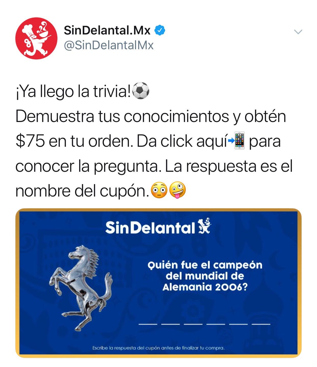 SinDelantal : 75 en consumo de 100