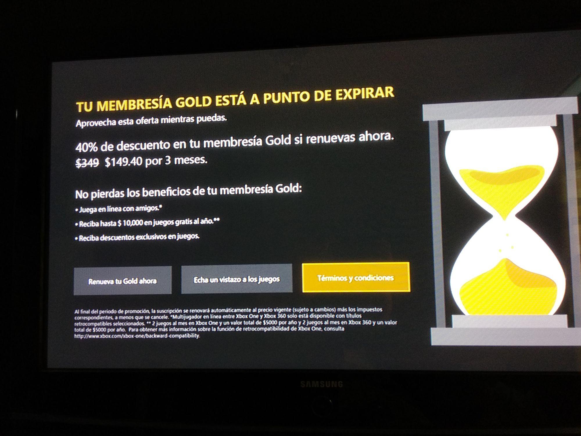 Microsoft Store: 40% descuento en 3 Meses Xbox Live Gold (sólo usuarios seleccionados)