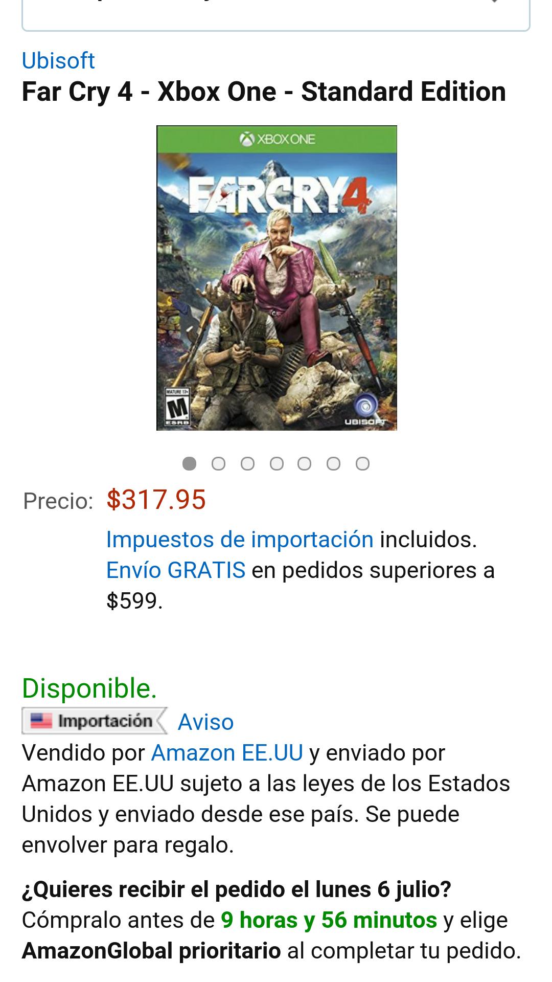 Amazon: Far Cry 4  XBOX ONE o PS4 $318